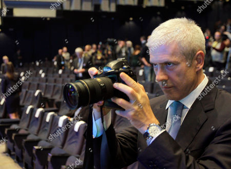 Former Serbian President and former Democratic Party leader Boris Tadic takes a picture before a party congress in Belgrade, Serbia, . Serbia's biggest opposition party, the pro-Western Democrats, have elected Belgrade's popular mayor Dragan Djilas as the new party leader. Tadic stepped down from the party helm after he and the party lost general elections earlier this year to the nationalists, former loyalists of Serbia's late strongman Slobodan Milosevic