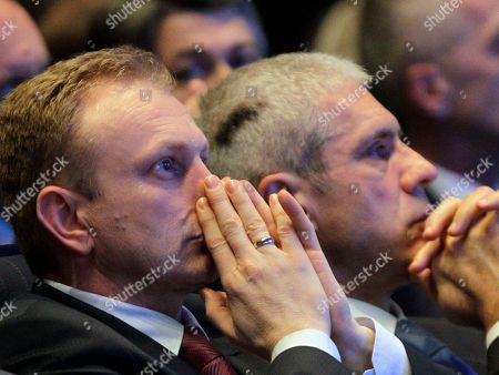 Serbia's pro-Western Democratic Party newly elected President Dragan Djilas, left, and former Serbian President and former Democratic Party leader Boris Tadic seen during a party congress in Belgrade, Serbia, . Serbia's biggest opposition party, the pro-Western Democrats, have elected Belgrade's popular mayor Dragan Djilas as the new party leader. Tadic stepped down from the party helm after he and the party lost general elections earlier this year to the nationalists, former loyalists of Serbia's late strongman Slobodan Milosevic