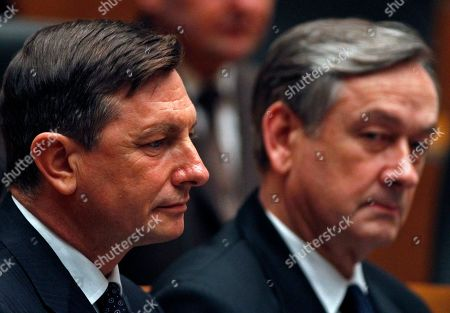 Stock Picture of Borut Pahor, Daniel Turk Newly elected Slovenian President Borut Pahor, left, and outgoing President Danilo Turk, attend an inauguration ceremony at the Slovenian parliament in Ljubljana, Slovenia