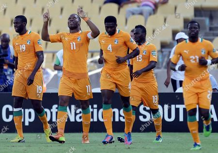 Ivory Coast's Yaya Toure, Didier Drogba, Kolo Toure, Ya Konan, and Emmanuel Eboue, from left to right, react after scoring the opening goal against Togo during their African Cup of Nations group D match at the Royal Bafokeng stadium in Rustenburg, South Africa. The two other teams in group D are Tunisia and Algeria