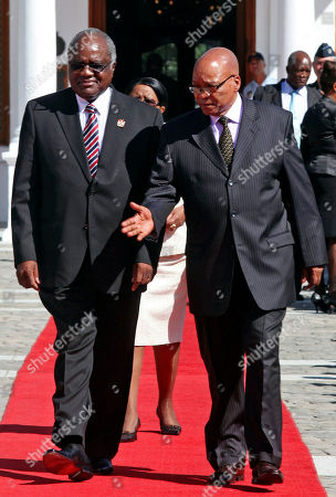 Hifikepunye Pohamba, Jacob Zuma South African President Jacob Zuma, right, walks with Namibian President Hifikepunye Pohamba, left, before a meeting, in Cape Town, South Africa, . The Presidents are expected to talk about political, economic and social relations between the two countries