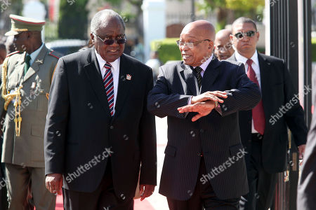 Hifikepunye Pohamba, Jacob Zuma South African President Jacob Zuma, right, talks to Namibian President Hifikepunye Pohamba, left, before a meeting, in Cape Town, South Africa, . The Presidents are expected to talk about political, economic and social relations between the two countries