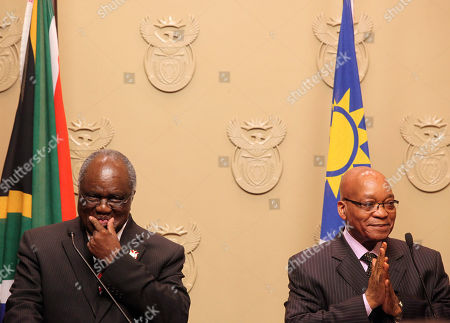 Hifikepunye Pohamba, Jacob Zuma South African President Jacob Zuma, right, reacts during a press conference with Namibian President Hifikepunye Pohamba, left, in Cape Town, South Africa, . The Presidents are expected to talk about political, economic and social relations between the two countries