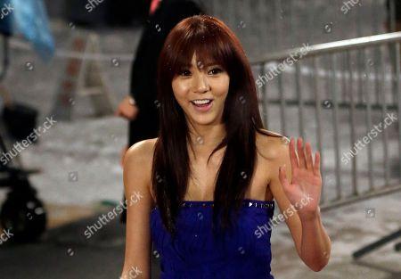 South Korean singer Son Dam-bi arrives for the SBS Color of K-pop festival in Seoul, South Korea