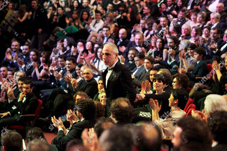 """Pablo Berger Spanish director Pablo Berger stands after winning the best film award for his film """"Blancanieves"""" during the annual Goya film awards in Madrid, Spain"""