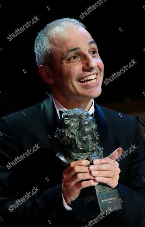 """Pablo Berger Spanish director Pablo Berger smiles after winning the best film award for his film """"Blancanieves"""" during the annual Goya film awards in Madrid, Spain"""