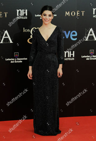 Stock Picture of Irene Visedo Spanish actress Irene Visedo poses on arrival for the Goya Awards in Madrid, Spain