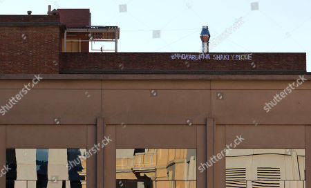 A message reading 'Congratulations Shakira and Pique' is seen on top of the hospital where Colombian singer Shakira is staying in Barcelona, Spain, . Shakira, 35, gave birth to her first child called Milan Pique Mebarak last Tuesday in Barcelona. Both the boy and mother were said to be in fine health