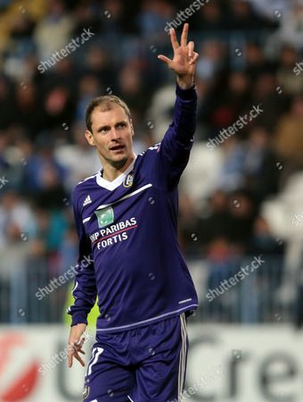 Milan Jovanovic RSC Anderlecht's Milan Jovanovic from Serbia, celebrates after scoring against Malaga during his Group C Champions League soccer match at the Rosaleda stadium in Malaga, Spain
