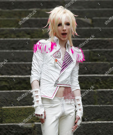 Yohio Swedish singer Yohio performs during a recording of his music video at Hie Shrine in Tokyo