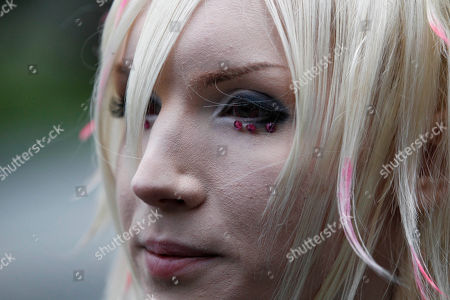 Stock Image of Yohio Swedish singer Yohio performs during a recording of his music video at Hie Shrine in Tokyo
