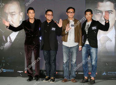 "Aaron Kwok, Tony Leung Ka Fai, Sunny Luk, Lok Man Leung On, from left, Hong Kong actor Tony Leung Ka Fai, directors Lok Man Leung, Sunny Luk, and actor Aaron Kwok pose for the media during a promotional event for their new film ""Cold War"" in Taipei, Taiwan"