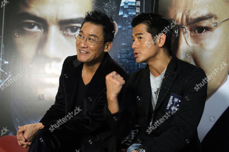 "Aaron Kwok Tony Leung Ka Fai On, Hong Kong actors Aaron Kwok, right, and Tony Leung Ka Fai speak during an interview for their new film ""Cold War"" in Taipei, Taiwan"
