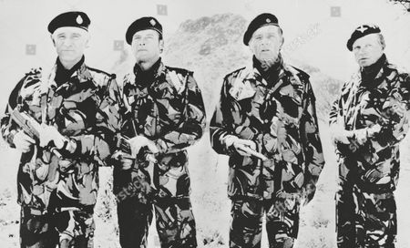 "Harris Burton Kruger Moore From left to right, actors Richard Harris, Roger Moore, Richard Burton and Hardy Kruger appear as officer-mercenaries in ""The Wild Geese,"" Oct. 1977"