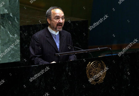 Stock Picture of Mohammad Khazaee Iran's U.N. Ambassador Mohammad Khazaee addresses the United Nations General Assembly meeting on the necessity of ending the economic, commercial and financial embargo imposed by the United States against Cuba
