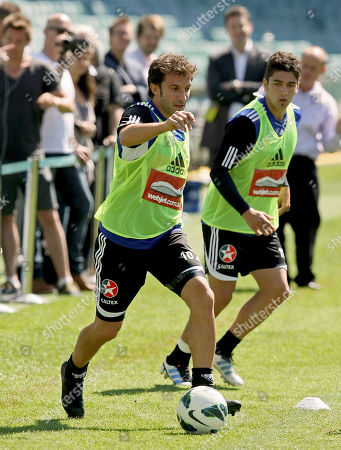Alessandro Del Piero Former Juventus soccer star Alessandro Del Piero, left, runs along side teammate Dimitri Petratos during a training session with his new club Sydney FC for the first time at Allianz Stadium in Sydney, Australia
