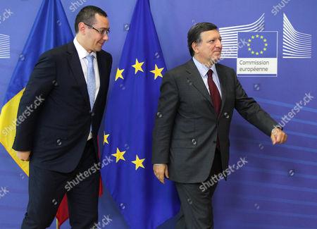 Jose Manuel Barroso, Victor-Viorel Ponta European Commission President Jose Manuel Barroso, right, ushers Romania's Prime Minister Victor-Viorel Ponta upon arrival at the European Commission headquarters in Brussels