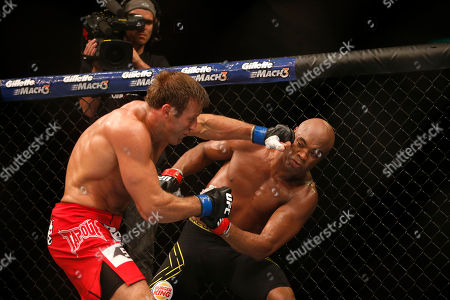 Stock Photo of Anderson Silva, Stephan Bonnar Anderson Silva, right, from Brazil, fights Stephan Bonnar, from the United States, during their light heavyweight mixed martial arts bout at the Ultimate Fighting Championship (UFC) 153 in Rio de Janeiro, Brazil, early . Silva defeated Bonnar