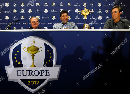 Ryder Cup Director Richard Hills, left, Europe's Ryder Cup Captain José María Olazábal, center, and player Nicolas Colsaerts, right, at a press conference at Heathrow in London . Erasing some of their worst Ryder Cup memories, the Europeans wore the image of Seve Ballesteros on their sleeves and played their hearts out Sunday at Medinah to match the greatest comeback in history and head home with that precious gold trophy