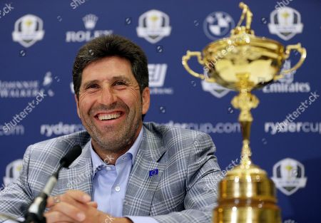 European Ryder Cup captain Jose Maria Olazabal as he smiles at a victorious European Ryder Cup press conference at Heathrow in London. Europe will be taking five vice captains to the Ryder Cup at Gleneagles, with Jose Maria Olazabal, Padraig Harrington and Miguel Angel Jimenez added to the list of Paul McGinley's assistants on Wednesday Sept. 3, 2014. McGinley had named Sam Torrance and Des Smyth as his first two vice captains in March