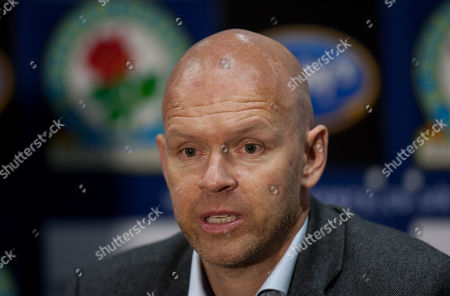 Blackburn's new manager Henning Berg answers questions during a press conference at Ewood Park Stadium, Blackburn, England, . Berg who won the Premier League title as a player with Blackburn Rovers in 1995 succeeds Steve Kean who resigned to end a troubled spell as manager
