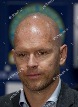 Stock Photo of Blackburn's new manager Henning Berg answers questions during a press conference at Ewood Park Stadium, Blackburn, England, . Berg who won the Premier League title as a player with Blackburn Rovers in 1995 succeeds Steve Kean who resigned to end a troubled spell as manager