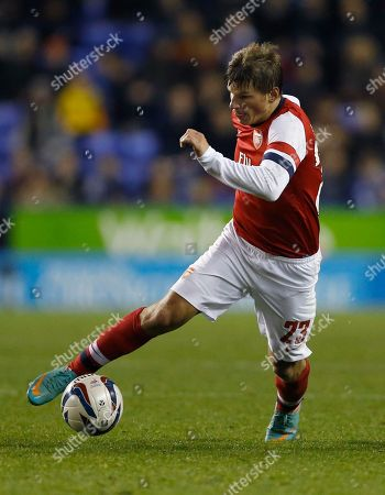 Arsenal's Andrey Arshavin controls the ball during the English League Cup soccer match between Reading and Arsenal at Madejski Stadium in Reading, England
