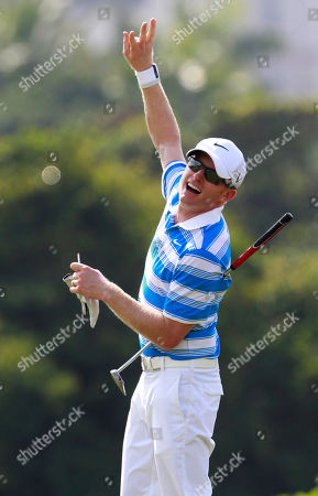 Simon Dyson English professional golfer Simon Dyson gestures during the first round of the World Celebrity Pro-Am golf tournament in Haikou, in southern China's island province Hainan on