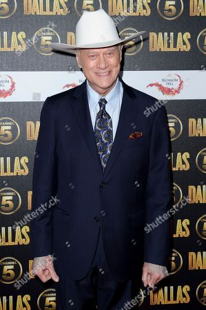 """Stock Image of Larry Hagman Larry Hagman arrives for the """"Dallas"""" launch party at a venue in central London. The Emmys will honor the late actors Hagman and Jack Klugman as part of an in memoriam package, but the two are not among those singled out for separate tributes"""