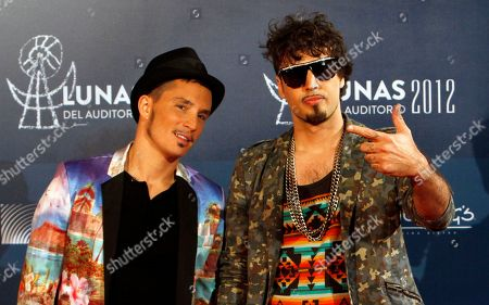 "Emmanuel Horvilleur, left, and Dante Spinetta of Illya Kuryaki & The Valderramas during the Lunas del Auditorio Nacional awarding ceremony in Mexico City. The group is nominated for five Latin Grammys for their first album in a decade, called, ""Chances"