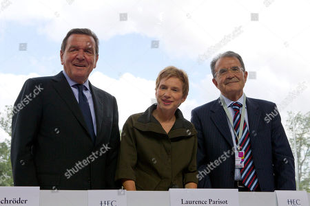 Laurence Parisot, Gerhard Schroeder, Romano Prodi Head of the French Employers Federation, MEDEF, Laurence Parisot, center, poses with Gerhard Schroeder, left, former Chancellor of Germany and former Italian Premier Romano Prodi during the MEDEF summer Forum, on the campus of the HEC School of Management in Jouy en Josas, near Paris
