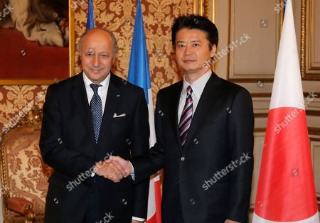 Laurent Fabius, Koichiro Gemba Japanese Foreign Affairs Minister Koichiro Gemba, right, is welcomed by his French counterpart, Laurent Fabius, prior to their meeting at Quai d'Orsay, in Paris