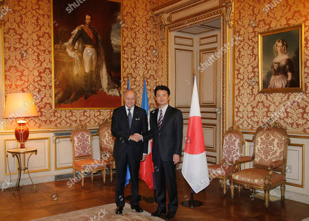 Laurent Fabius, Koichiro Gemba Japanese Foreign Affairs Minister, Koichiro Gemba, right, is welcomed by his French counterpart, Laurent Fabius, prior to their meeting at Quai d'Orsay, in Paris
