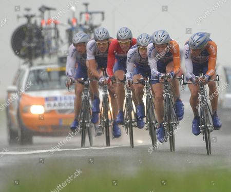Stock Picture of On July 7, 2004, the Rabobank cycling team with Erik Dekker, third from left, Levi Leipheimer of the US, third from right, and Michael Boogerd, far right, rides during the Tour de France cycling race team trial from Cambrai to Arras, France. The Rabobank cycling team announced, it would pull out of professional cycling by the end of 2012 after reading the scathing report of the US anti doping watchdog USADA detailing the use of banned substances on a large scale in the peloton. Eleven teammates of Lance Armstrong on the U.S. Postal Service Cycling Team have turned on him offering evidence and testimony to back up allegations that Armstrong used performance-enhancing drugs in competition, the USADA said