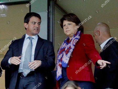 Manuel Vals, Martine Aubry Fremch interior Minister Manuel Vals, left, arrives at the Stadium with French Socialist Party Lill's Mayor Martine Aubry prior to their French League One soccer match against PSG, ., in Metropole stadium in Villeneuve d'Ascq, northern France