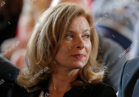 Stock Picture of Valerie Trierweiler Valerie Trierweiler, companion of France's President Francois Hollande, attends a charity auction by the Foundation France Libertes in honour of France's former First lady Danielle Mitterrand in Paris, Thursday, Sept, 20, 2012