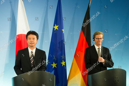 Guido Westerwelle, Koichiro Gemba German Foreign Minister Guido Westerwelle, right, and his counterpart from Japan, Koichiro Gemba, brief the media following their meeting at the foreign ministry in Berlin