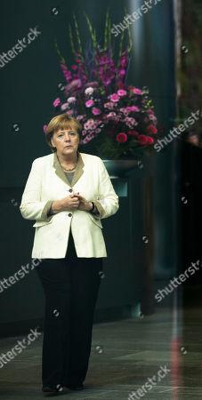 Angela Merkel German Chancellor Angela Merkel waits for the arrival of the President of the Jemen Abd Rabbuh Mansur Al-Hadi, unseen, for talks at the chancellery in Berlin