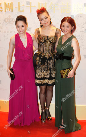 Joey Yung, Charlene Choi, Gillian Chung From left, Hong Kong singers Gillian Chung, Joey Yung and Charlene Choi, pose during an event to celebrate the 70th anniversary of Hong Kong's Emperor Entertainment Group in Hong Kong