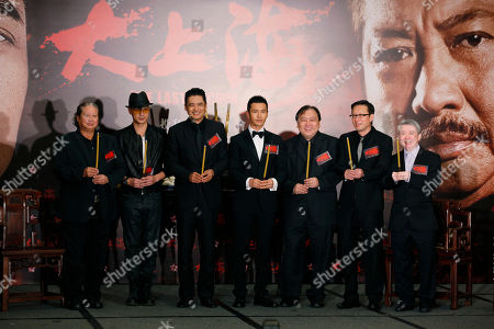 """Sammo Hung, Chow Yun-fat, Francis Ng, Huang Xiaoming, Wong Jing, Andrew Lau, Manfred Wong Man-Chun Hong Kong movie stars, from left, Sammo Hung, Francis Ng and Chow Yun-fat, Mainland Chinese actor Huang Xiaoming, Hong Kong director Wong Jing, producer Andrew Lau and coordinator Manfred Wong Man-Chun attend a news conference to promote their new movie """"The Last Tycoon"""" in Hong Kong . The movie will be on screen in December"""