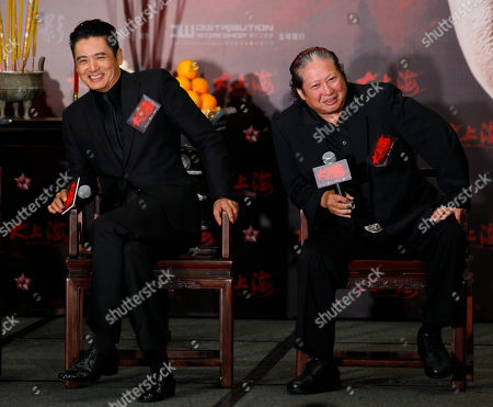 """Sammo Hung, Chow Yun-fat Hong Kong movie stars, Sammo Hung, right, and Chow Yun-fat attend a news conference to promote their new movie """"The Last Tycoon"""" in Hong Kong . The movie will be on screen in December"""