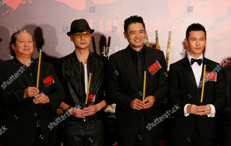 """Sammo Hung, Chow Yun-fat, Francis Ng, Huang Xiaoming Hong Kong movie stars, from left, Sammo Hung, Francis Ng, Chow Yun-fat, and Mainland Chinese actor Huang Xiaoming attend a news conference to promote their new movie """"The Last Tycoon"""" in Hong Kong . The movie will be on screen in December"""