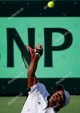 Vishnu Vardhan India's Vishnu Vardhan plays against New Zealand's Jose (Rubin) Statham, unseen, during their Davis Cup tennis match in Chandigarh, India
