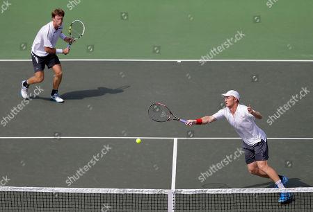 Daniel King-Turner, Michael Venus New Zealand's Daniel King-Turner, right, and Michael Venus play against India's Vishnu Vardhan and Divij Sharan, unseen, during their Davis Cup doubles tennis match in Chandigarh, India