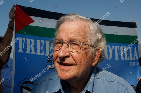 Mideast, Noam Chomsky Jewish-American scholar and activist Noam Chomsky stands during a press conference to support the Gaza-bound flotilla in the port of Gaza City, Saturday, Oct. 20, 2012. Israeli soldiers commandeered a vessel carrying pro-Palestinian activists destined for Gaza on Saturday, cutting off communications and steering it from international waters toward the Israeli port of Ashdod. The ship was the latest in a series of activist-manned vessels challenging Israel's blockade on the territory