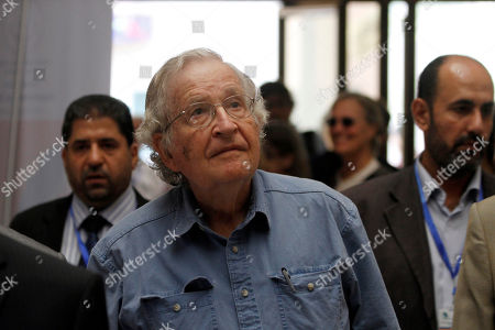 Mideast, Noam Chomsky Jewish-American scholar and activist Noam Chomsky arrives to a conference at the Islamic University in Gaza City, Saturday, Oct. 20, 2012. Chomsky entered Gaza Strip from Egypt Thursday for his first visit to Gaza