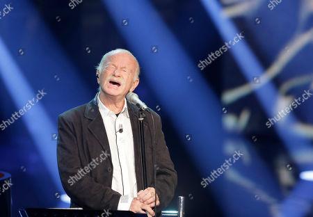 """Italian singer Gino Paoli performs during the Italian State RAI TV program """"Che Tempo che Fa"""", in Milan, Italy"""