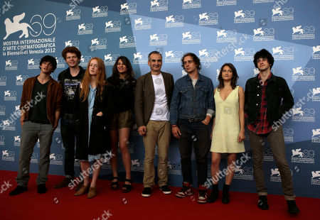 Mathias Renou, Hugo Conzelmann, India Salvor Menuez, Carole Combes, Olivier Assayas, Felix Armand, Lola Creton and Clement Metayer From left, actors Mathias Renou, Hugo Conzelmann, India Salvor Menuez, Carole Combes, director Olivier Assayas, actors Felix Armand, Lola Creton and Clement Metayer pose for the photo call of the film 'Apres Mai' at the 69th edition of the Venice Film Festival in Venice, Italy
