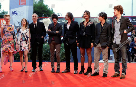 Actors India Salvor Menuez, Lola Creton, director Olivier Assayas, actors Clement Metayer, Felix Armand, Carole Combes, Mathias Renou and Hugo Conzelmann arrive on the red carpet for the film 'Apres Mai' at the 69th edition of the Venice Film Festival in Venice, Italy