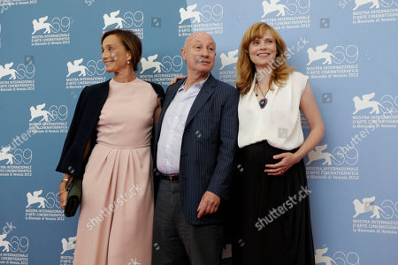 Isabelle Carre, Pascal Bonitzer, Kristin Scott Thomas Actress Kristin Scott Thomas, director Pascal Bonitzer and actress Isabelle Carre pose at the photo call for the movie 'Cherchez Hortense' at the 69th edition of the Venice Film Festival in Venice, Italy